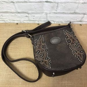 Montana West Brown Leather Crossbody